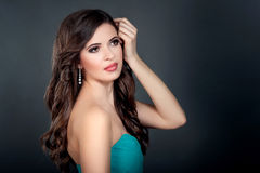 Portrait of beautiful girl in blue dress Royalty Free Stock Image