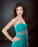Portrait of beautiful girl in blue dress Stock Images