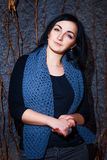 Portrait of a beautiful girl. With blue scarf Stock Images