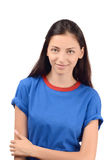 Portrait of a beautiful girl in blue t-shirt. Royalty Free Stock Photos