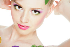 Portrait of beautiful girl with  bodyart Royalty Free Stock Photos