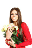 Portrait of beautiful girl with a bouquet of roses on a white ba Royalty Free Stock Photo