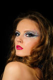 Portrait of beautiful girl with bright fashion art makeup Royalty Free Stock Photo