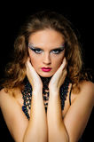 Portrait of beautiful girl with bright fashion art makeup Royalty Free Stock Images