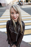 Portrait of a beautiful girl with a bright lipstick Royalty Free Stock Images