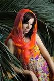Portrait of the beautiful girl in a bright shawl Royalty Free Stock Images
