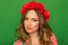 Portrait of beautiful girl with bright Up Make Up and with flowe Royalty Free Stock Photography