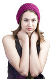 Portrait of a beautiful girl with brown eyes in hat Royalty Free Stock Image