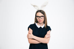 Portrait of a beautiful girl with bunny ears Royalty Free Stock Images