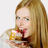 Portrait of beautiful girl with cake Royalty Free Stock Photo