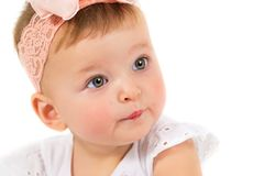 Portrait of a beautiful girl. Child on a white background Royalty Free Stock Images