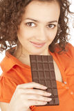 Portrait of beautiful girl with a chocolate stock photos