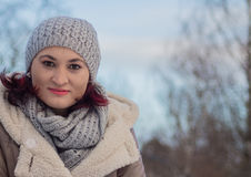 Portrait. Of the beautiful girl close-up, on a winter day,outdoor shot Stock Photography