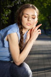 Portrait of beautiful girl with closed eyes Royalty Free Stock Images