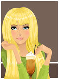 Portrait of beautiful girl with cocktail Stock Images