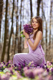 Portrait of a beautiful girl. In corydalis Stock Images