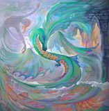 Dance with dragon. Oil painting on canvas. Portrait of beautiful girl dancing in the fantasy environment vector illustration