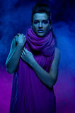 Portrait of the beautiful girl in dark tones Stock Image