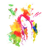 Portrait of beautiful girl drawing by water color splashes  Stock Photography