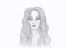Portrait of a beautiful girl. Drawn in pencil. Isolated Royalty Free Stock Images