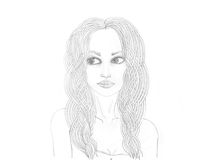 Portrait of a beautiful girl. Drawn in pencil. Isolated Stock Image