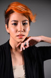 Portrait of a beautiful girl with dyed hair coloring royalty free stock image