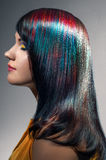 Portrait of a beautiful girl with dyed hair Stock Images