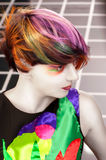 Portrait of a beautiful girl with dyed hair Royalty Free Stock Photo