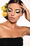 Portrait of beautiful girl with extravagant makeup Royalty Free Stock Image
