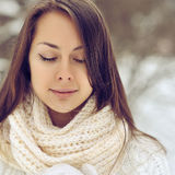 Portrait of beautiful girl face with eyes closed Royalty Free Stock Image
