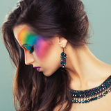 Portrait of a beautiful girl with a fashion bright multicolored Stock Photos