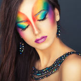 Portrait of a beautiful girl with a fashion bright multicolored Stock Photo