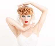 Portrait of a beautiful girl with fashion makeup Stock Photography