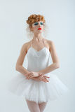 Portrait of a beautiful girl with fashion makeup - red lips, sty Royalty Free Stock Photography
