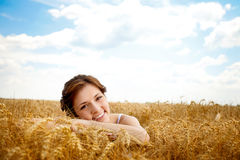 Portrait of beautiful girl in field Stock Image