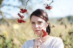 Portrait of a beautiful girl in a field Stock Photography
