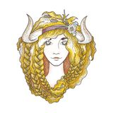 Portrait of a beautiful girl with flaming gold hair and horns. Seasonal illustration Stock Image