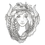 Portrait of a beautiful girl with flaming gold hair. And horns. Seasonal illustration. Coloring page Royalty Free Stock Image