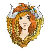 Portrait of a beautiful girl with flaming gold hair. And horns. Seasonal illustration Stock Image