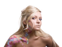 Portrait of beautiful girl with floral bodyart Royalty Free Stock Image
