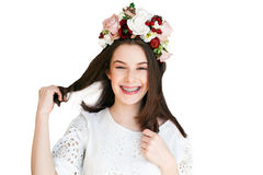 Portrait of beautiful girl with flower wreath stock photos