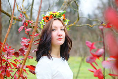 Portrait beautiful girl with flower wreath in the colorful autumn park Royalty Free Stock Photo