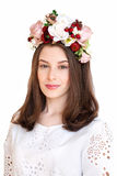 Portrait of beautiful girl with flower wreath Stock Photo