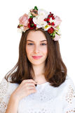 Portrait of beautiful girl with flower wreath stock photography
