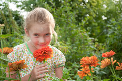 Portrait of a beautiful girl in the flowers Stock Photo