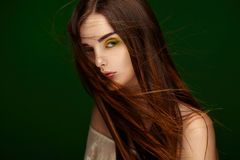Portrait of a beautiful girl with fluttering hair Royalty Free Stock Photos