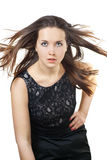 Portrait of beautiful girl with the flying hair Stock Images
