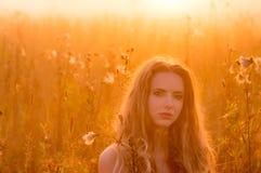 Portrait of beautiful girl in fog Stock Photo
