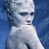 Portrait of a beautiful girl in the frost Stock Photo