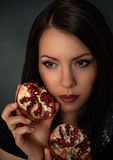 Portrait of a beautiful girl with fruit Stock Photography